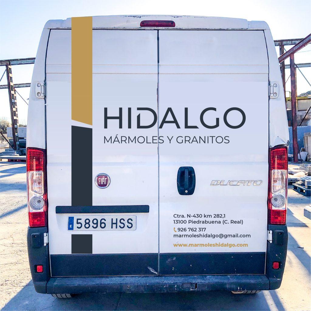 Rotulación trasera Hidalgo mármoles y granitos